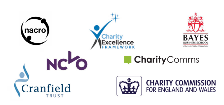 The logos of nacro, NCVO, Cranfield trust, Charity Excellence Framework, Charity Comms, Charity Commission for England and Wales, Bayes Business School City University of London